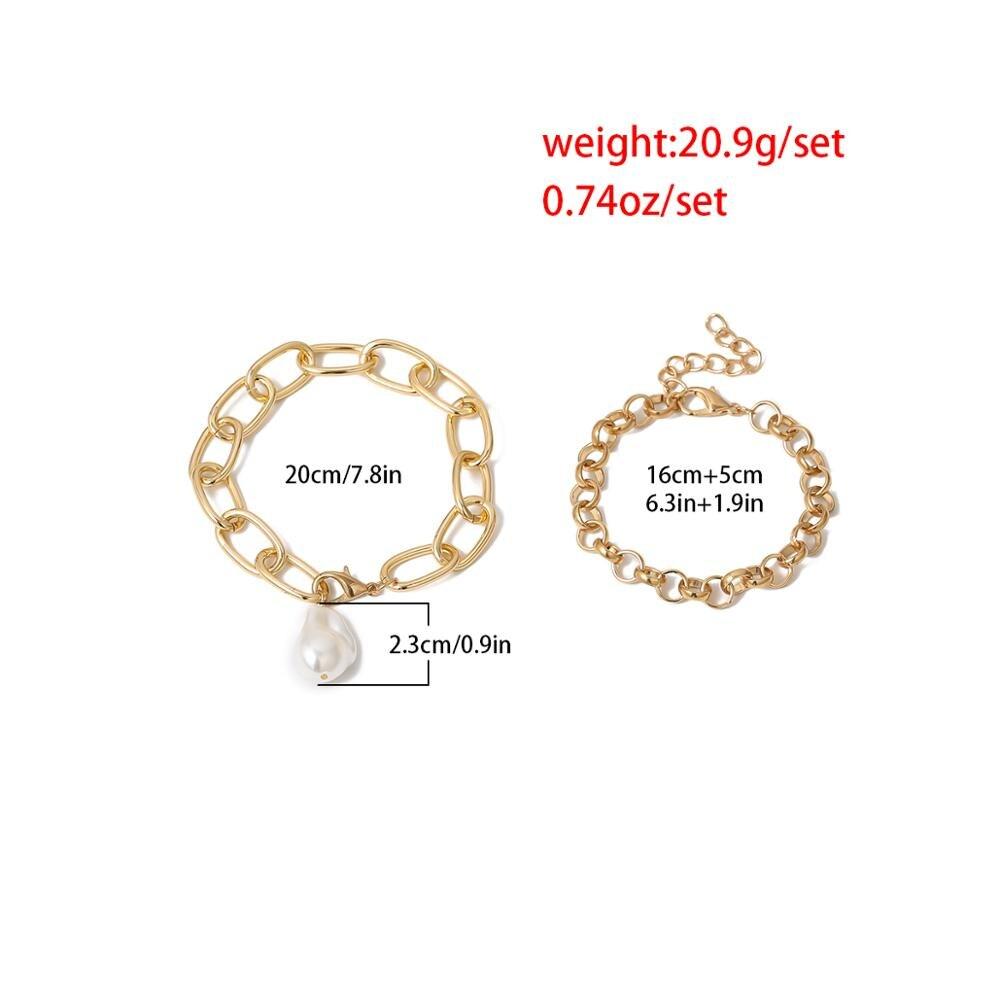 Купить с кэшбэком Ingemark Vintage Imitation Pearl Pendant Bracelets Bangles Women Wedding Punk Chunky Lock Chain Bracelet Couple Jewelry Gifts
