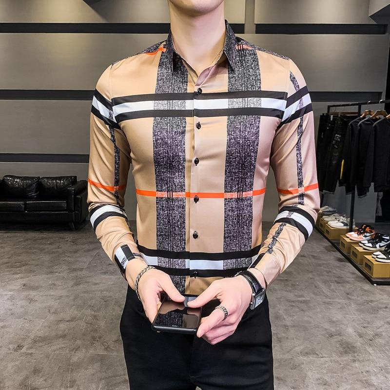 Мужская приталенная рубашка с длинным рукавом, В гавайском стиле
