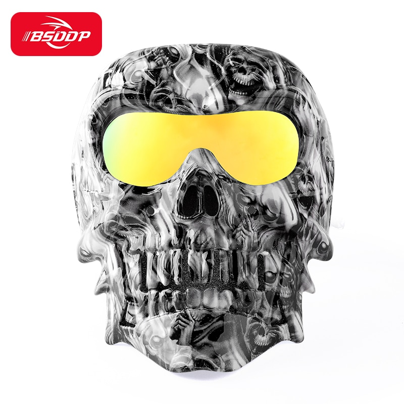 adult leather harley helmetsmask detachable goggles and mouth filter perfect vintage motorcycle helmet open face motorcycle Cool skull motorcycle face Mask with Goggles Mask for Vintage open face Motorcycle Helmet Moto  Skeleton windshield goggles