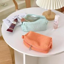 Simple Mint Green Cosmetic Bag Korean Pleated Makeup Organizer Bag Travel Student Pencil Pouch Porta
