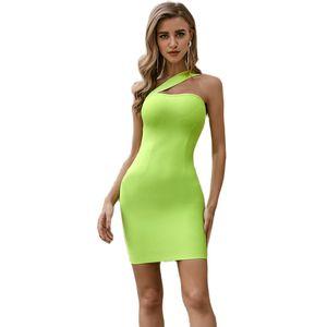 Spaghetti Strap Sexy Bodycon Dress Summer Yellow Neon Elegant Sleeveless Short Dress Women