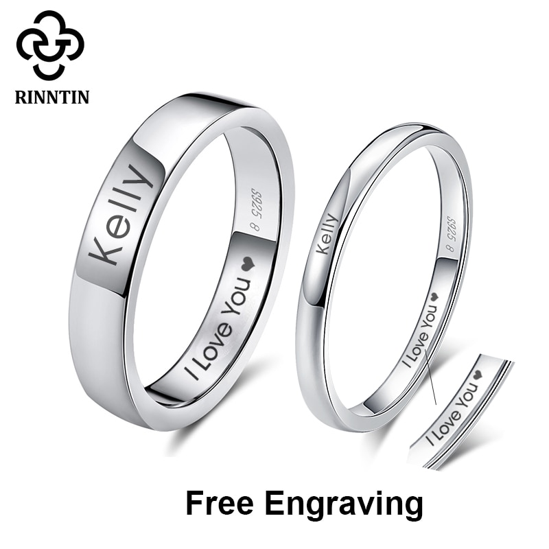 Rinntin 925 Sterling Silver DIY Engraved Simple Couple Name Rings Lovers Personalized Custom Bands Anniversary Jewelry Gifts RSR