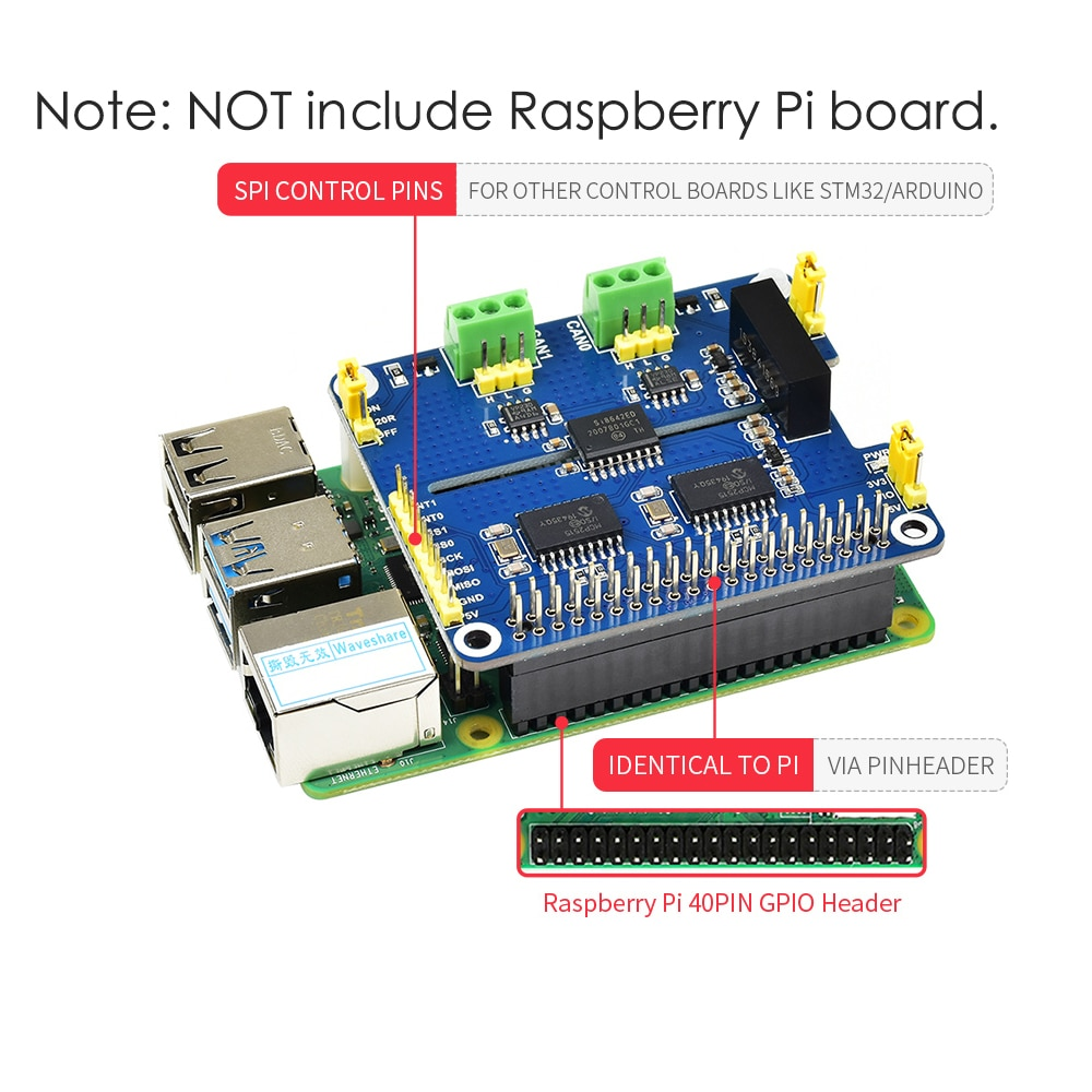 2-قناة قوة معزول CAN حافلة تمديد لوح تمديد وحدة قبعة عدة ل Raspberry Pi RPI 3 4 نموذج B 3B Plus 4B صفر واط