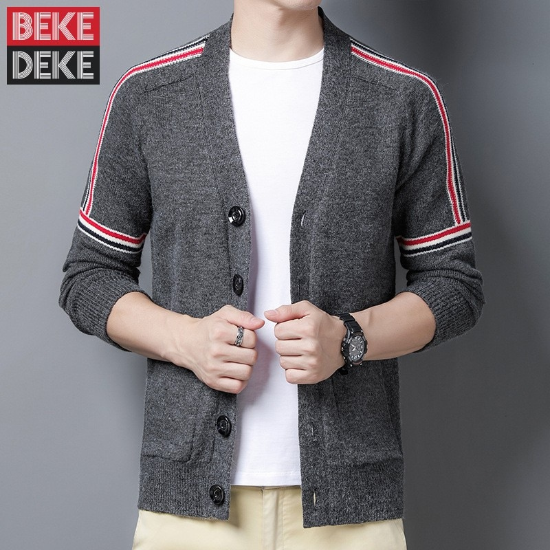 Mens Business Casual Side Striped Sweater Cardigan V Neck Single Breasted Knit Coat Slim Fit Long Sleeve Knitwear Tops Sweaters