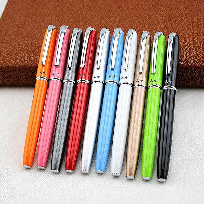 Роскошный Металлический авторучка 0,38 мм дополнительный тонкий наконечник каллиграфические ручки офисные принадлежности Подарочная черни...