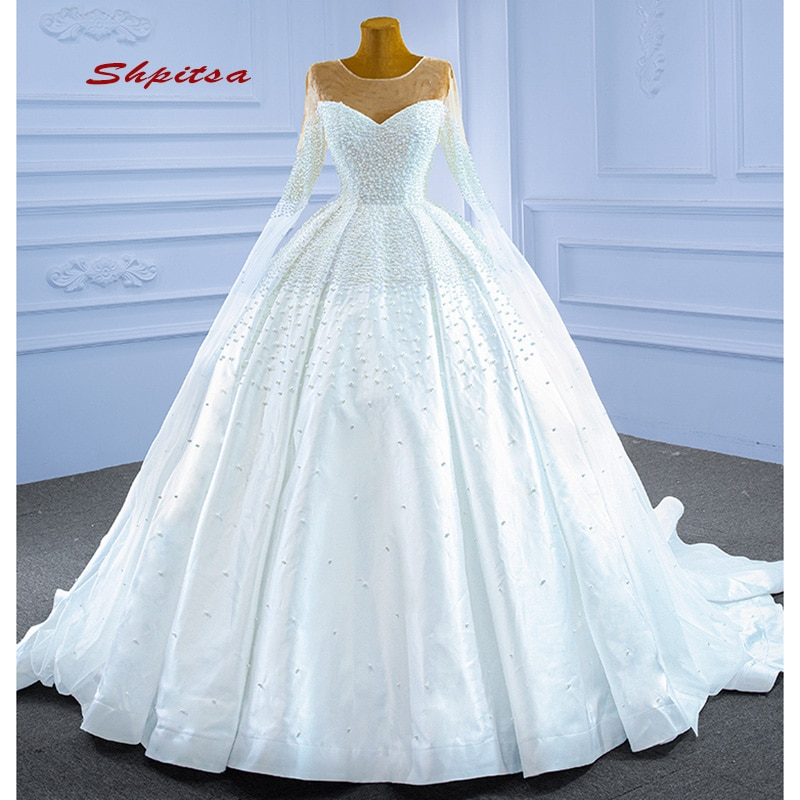 luxury long tail satin red bling ball gown wedding dresses newest sexy designer bridal wedding gowns with sleeves Luxury Long Sleeve Wedding Dresses Ball Gown Plus Size Pearls Satin Women Girl Princess Wedding Gowns Bridal Bride Dresses