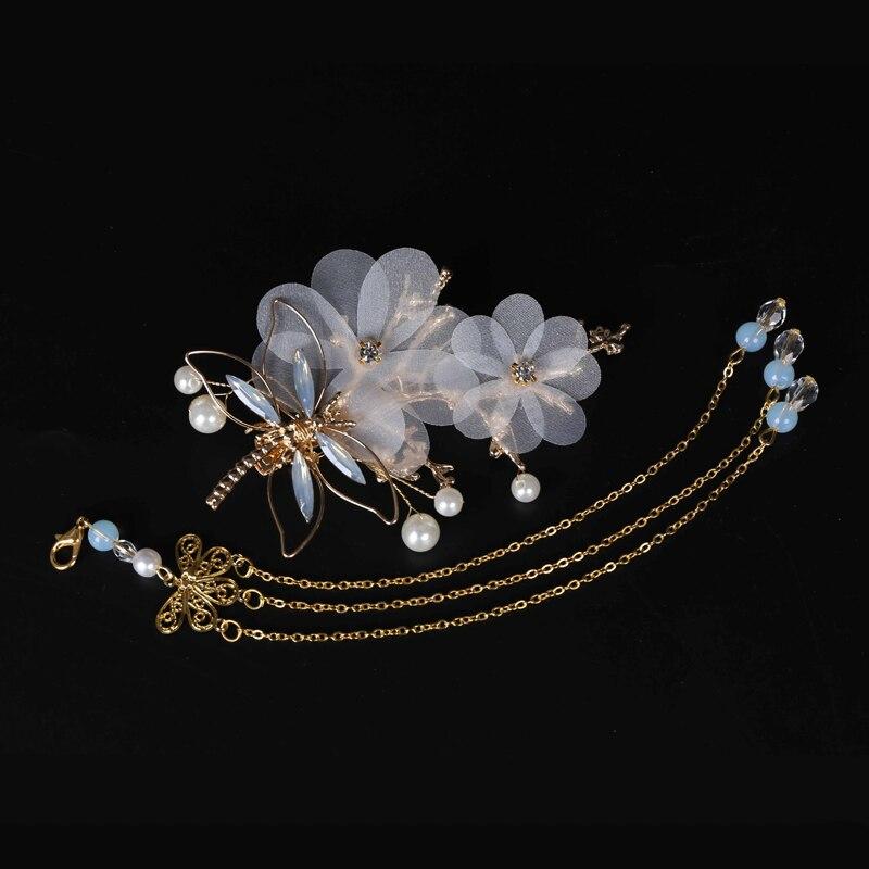 Tocado libélula horquilla antiguo accesorios para el cabello conjunto completo de accesorios para mujer borla paso shake horquilla