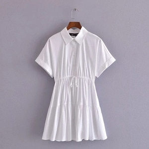 Turn down collar white color short sleeve lace up waist summer girls casual cute dresses