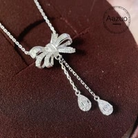 aazuo 18k white gold real diamonds 0 30ct fairy bowknot waterdrop chain necklace gifted for women wedding link chain au750
