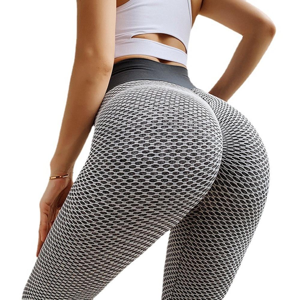 Larga Mallas sin costuras para Mujer arriba de nido de abeja pantalones...