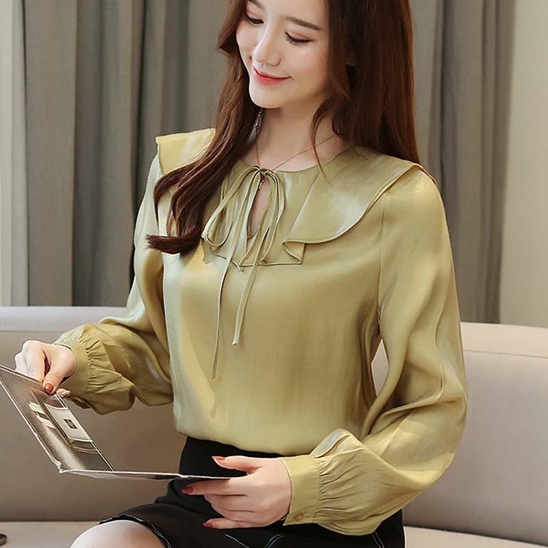 Moda gasa para mujer camisas de manga larga blusas para mujer blusas casuales para mujer color sólido ladiese ropa A118
