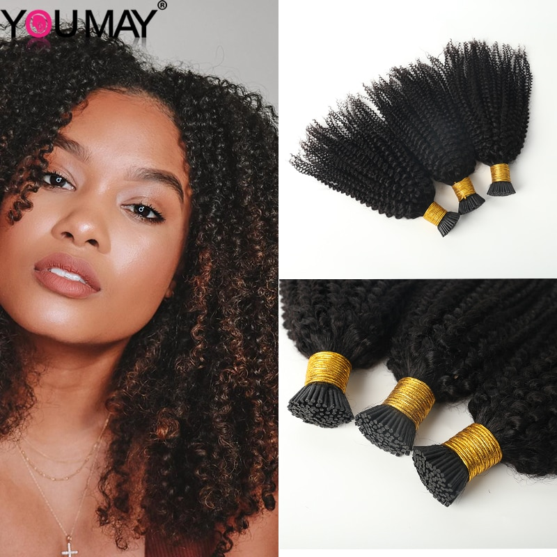 Kinky Curly I Tip Hair Extensions 3C4A Remy Human Hair Microlink Hair Extensions Kinky Curls I Tip H
