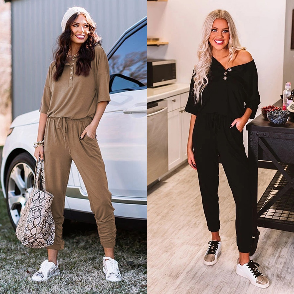 Short Sleeve Long Romper Summer New Fashion Soild Women Casual Overall O-Neck Button Lace Up Daily Home Long Pants Outfits D30