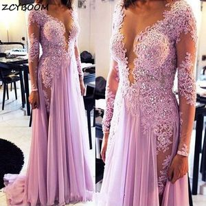 Pink Prom Dress Illusion A-Line Women Formal Party Long Sleeves Appliques Vestidos De Gala Elegant Chiffon Split Evening Gowns