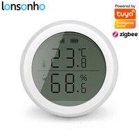 Lonsonho Tuya Zigbee Temperature Humidity Sensor Detector Smart Home Automation Compatible Tuya Zigbee Hub