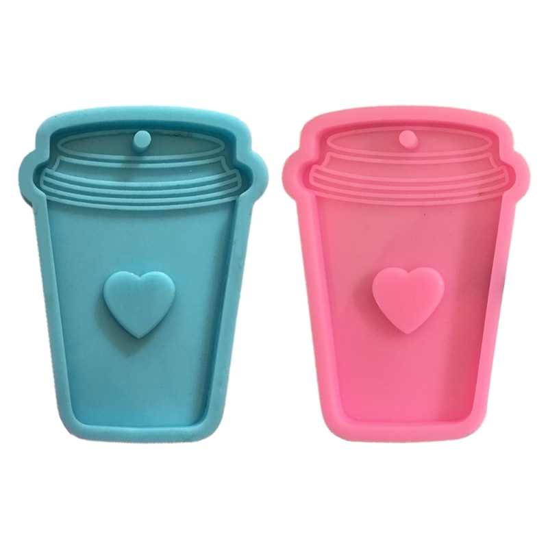 Shiny Glossy Love Coffee Cup Keychain Epoxy Resin Mold Jewellery Necklace Pendant Silicone Mould DIY Crafts Polymer Clay KX4C