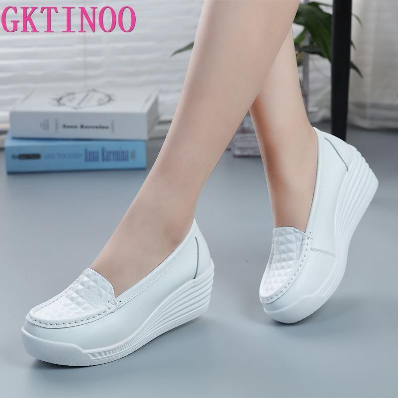 GKTINOO-حذاء رياضي نسائي من الجلد الطبيعي ، حذاء نسائي بنعل سميك ، غير رسمي ، أبيض ، مقاس 34-40