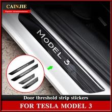 For Tesla Model 3 2021 Accessories Car Threshold Model3 Door Sill Decoration Wrap Cover Carbon Fiber