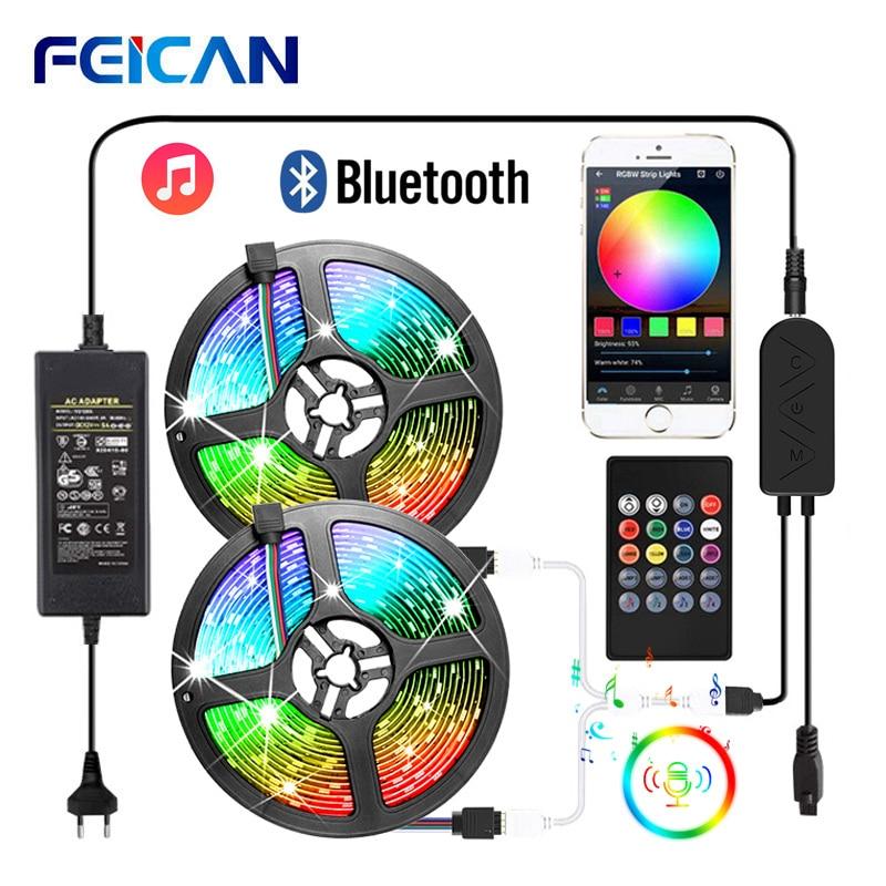 Светодиодная лента RGB 5050 2835 Bluetooth светодиодная лента для синхронизации музыки светодиодная подсветка датчик звука дистанционное управлени...