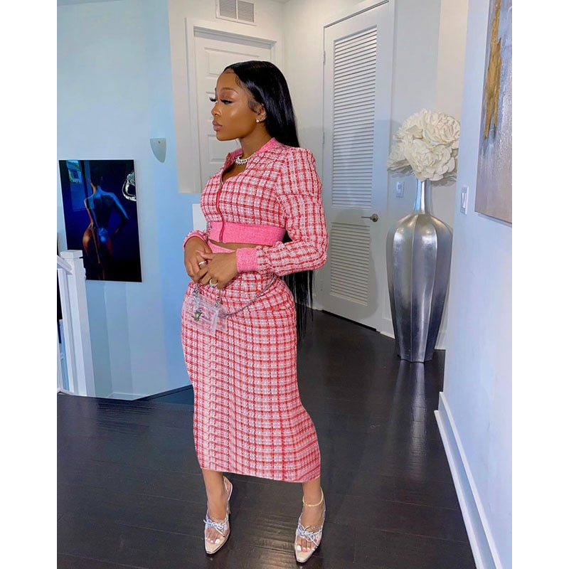 Fall Clothes Sexy Two Piece Set Women Print Threaded Long Sleeve Crop Top+Skirt Sets Vacation Club Outfits Streetwear Wholesale