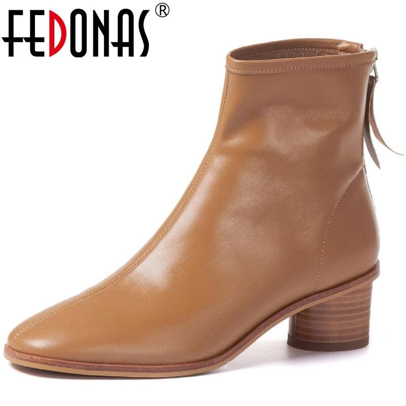 Fedonas concisas mulheres tornozelo botas de volta cinta senhora do escritório sapatos casuais mulher 2020 inverno mais novo roud toe saltos grossos botas