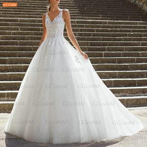 White V Neck Wedding Gowns Long 2021 Robe De Mariée Lace Appliques Tulle Cinderella Bridal Dresses Custom Made Robe De Mariage
