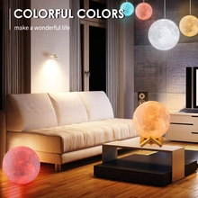 16 Colors Moon Lamp 3D Printing LED Night Light with Stand USB Rechargeable Moon Light Lamp for Home