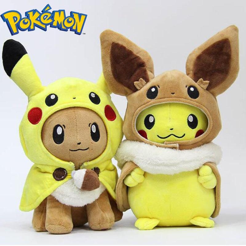 TAKARA TOMY Pokemon plush toys Pikachu Cosplay Eevee Plush Stuffed Dolls Eevee with Cloak Cos Pikachu Toy Kids Gift 1pc 45 40cm simple pikachu pillow cushion plush toy dolls decorative pillows cartoon plush toys