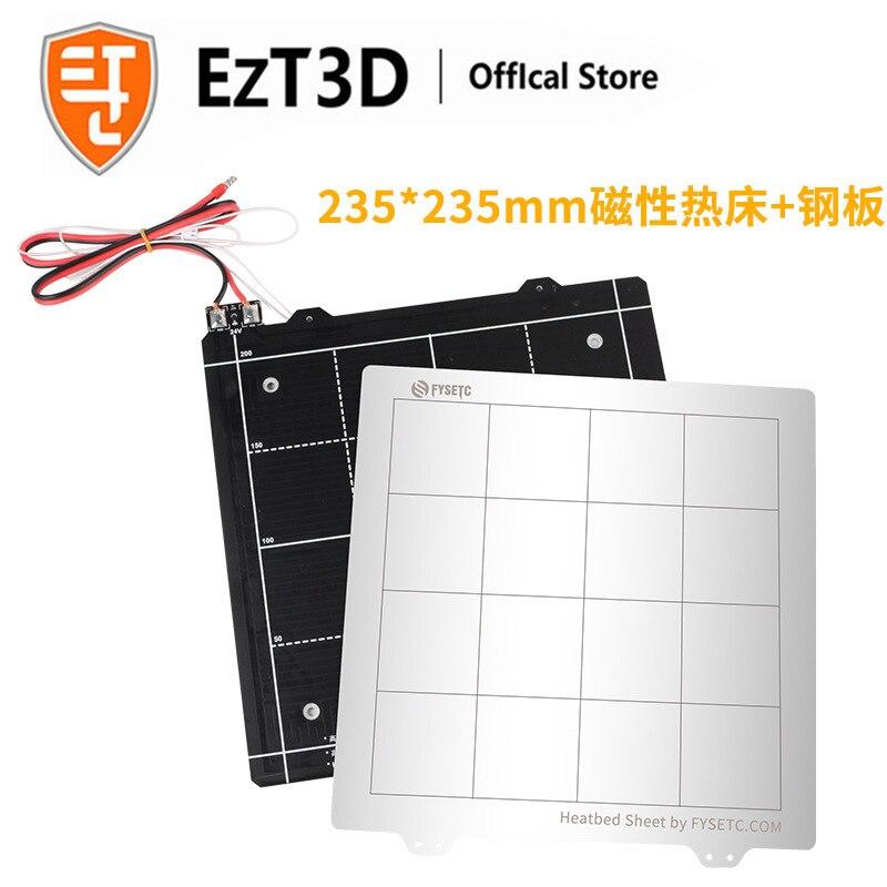 EZT3D para Ender 3 piezas de impresora 3D plataforma caliente cama caliente 235*235mm 24V Magnetic Hot Bed + Kit de placa de hierro