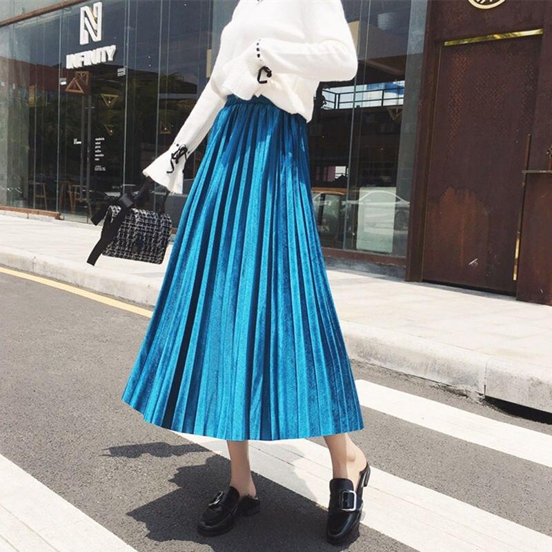 Nueva Falda larga XUXI Korea para primavera y otoño 2020 con cintura alta aterciopelado elástico Cintura alta albóndiga grande FZ1114