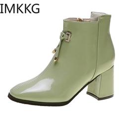 2019 novo outono botas de tornozelo moda feminina zip motocicleta botas de couro botas de borracha senhoras sapatos de salto alto verde mulher