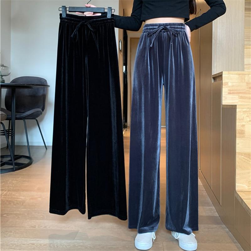 Gold Velvet Large Size Wide-Leg Pants for Women Spring and Autumn 2021 High Waist Loose Straight Sli