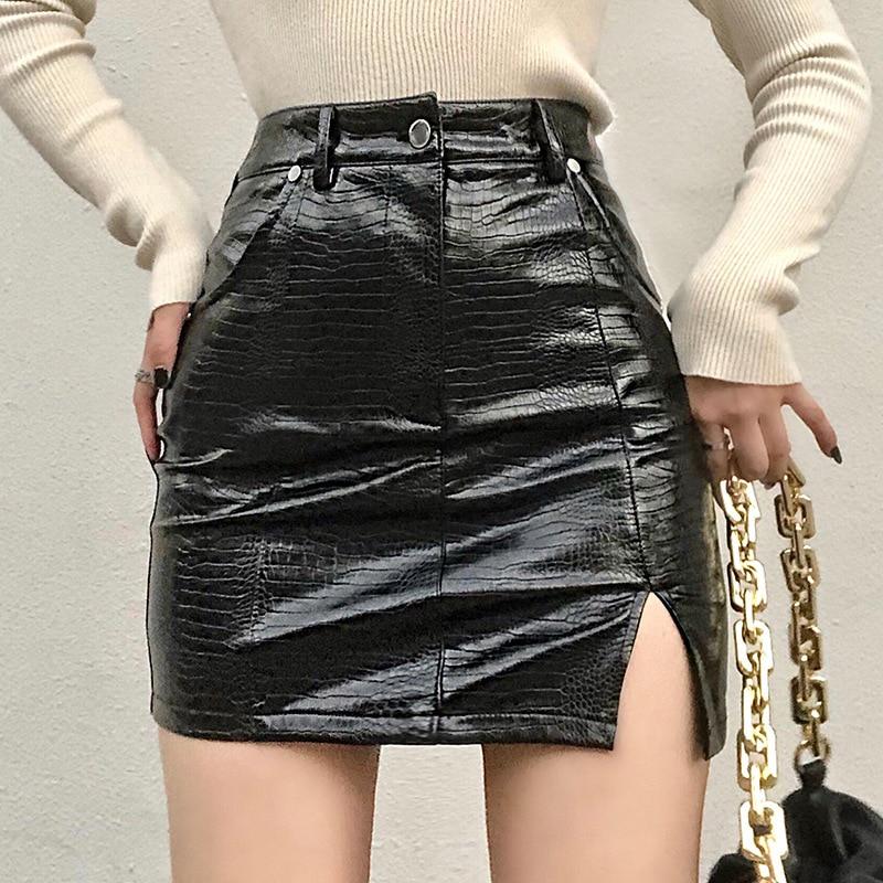 Женская Черная Кожаная Мини-юбка, облегающая юбка-карандаш из латекса с завышенной талией и молнией спереди, полосатая полиуретановая юбка ...