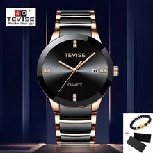 TEVISE Ceramic Watch Men Luxury Gold Men's Watches Casual Watches Waterproof Quartz Mens Wristwatch