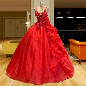 Rhinestones Beaded Ball Gown Red Quinceanera Dresses Spaghetti Straps Cascade Ruffles vestidos de quinceañera vestidos de 15 año