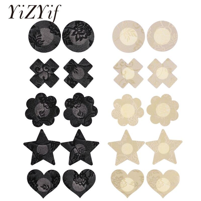10 pares de cubiertas para pezones, pezones desechables de encaje para mujer, adhesivos para pezones, adhesivos autoadhesivos para cubrir pezones, pezones invisibles