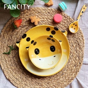Милая миска FANCITY в форме сердца для девочек, одинарная миска для еды, тарелка в форме животного, детская посуда Yifan