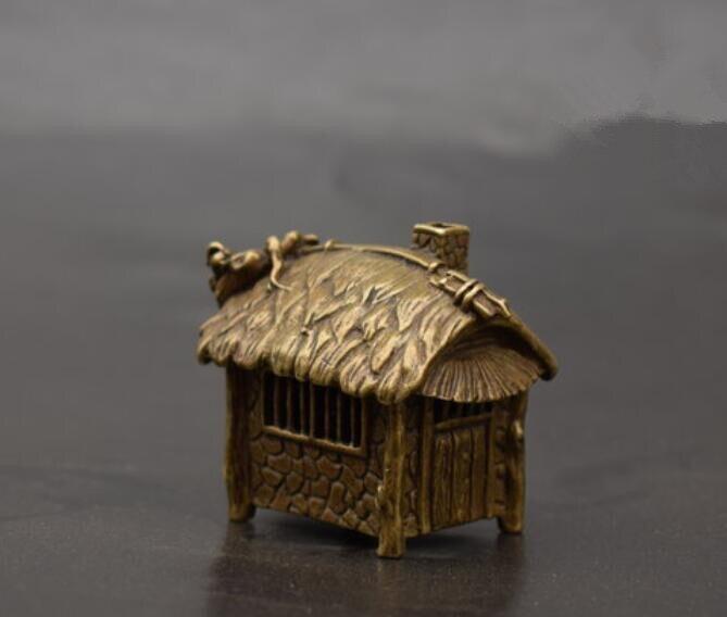 Estatua pequeña quemador de incienso en forma de cabaña de paja de latón de China