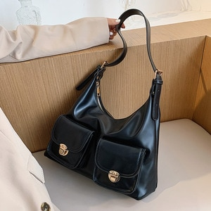 Vintage Women Shoulder Bag PU Leather Large Capacity Ladies Big Handbag Multi Pockets Tote Purse Sacoche Femme Bandolera Mujer