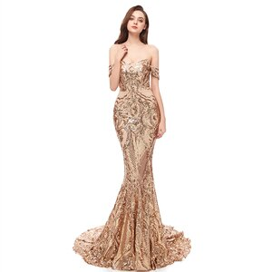 2020 Best Selling Off Shoulder Sequin Lace Rose Gold Mermaid Girls Prom Party Evening Dress Long Gown