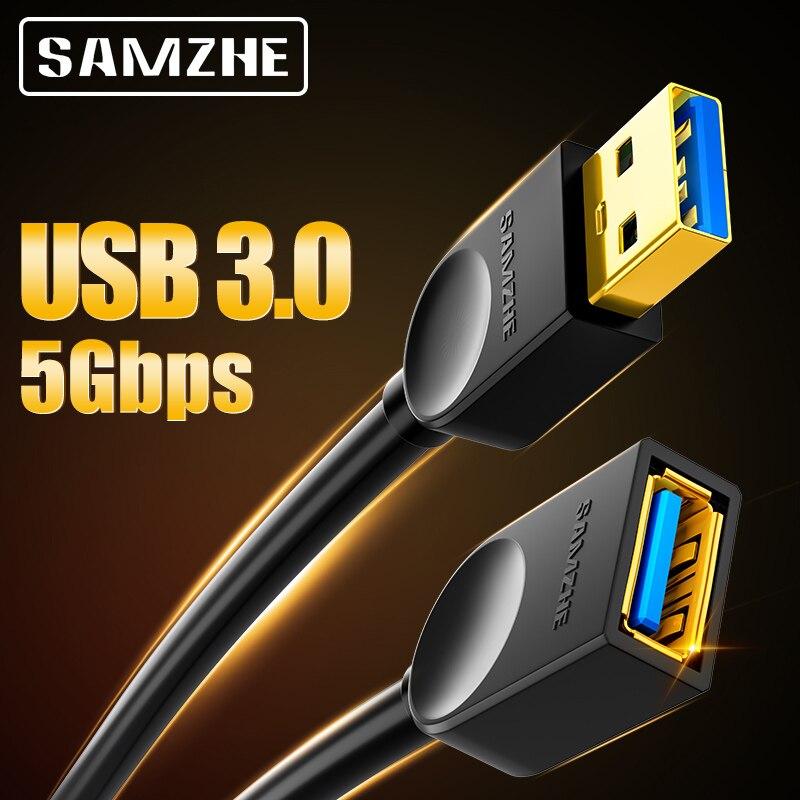 SAMZHE USB 3.0/2,0 Verlängerung Kabel Flache Verlängern Kabel AM/AF 0,5 m/1m/1,5 m/2m/3m Für PC TV PS4 Computer Laptop Extender