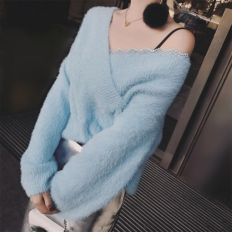 Otoño invierno cálido suave de visón de Cachemira jersey de Coreana de Lazy Oaf linterna mangas Bajo de encaje de hombro suéteres