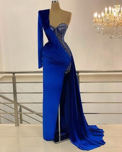 Royal Blue Robe De Soiree Mermaid One-shoulder Long Sleeves Beaded Slit Sexy Long Prom Dresses Prom Gown Evening Dresses
