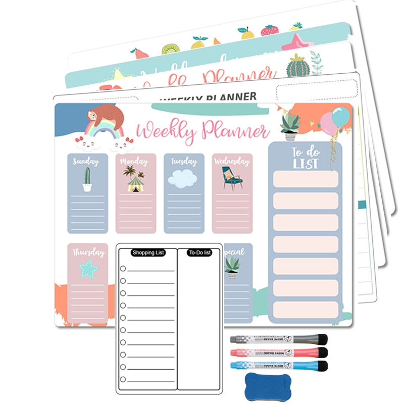 Magnetic Weekly Monthly Planner Calendar Fridge Magnet Sticker Dry Erase Whiteboard  Markers Message Drawing  for Notes A3 Size