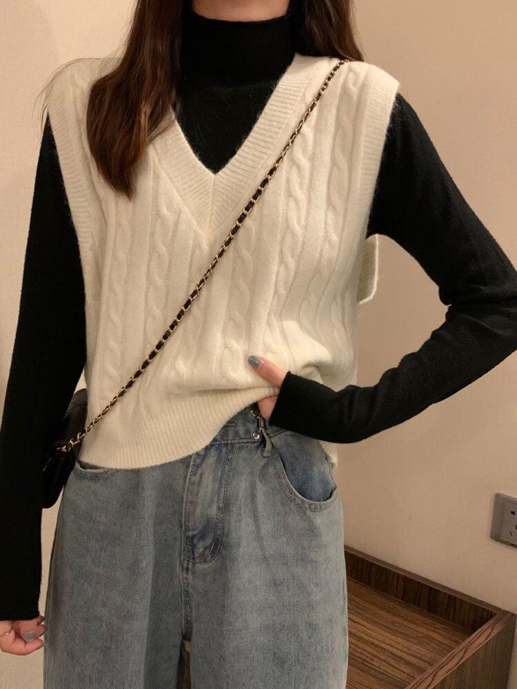 White V-neck Sweater Vest Women T-shirt Spring 2021 New Korean Women's Loose Short Jacket