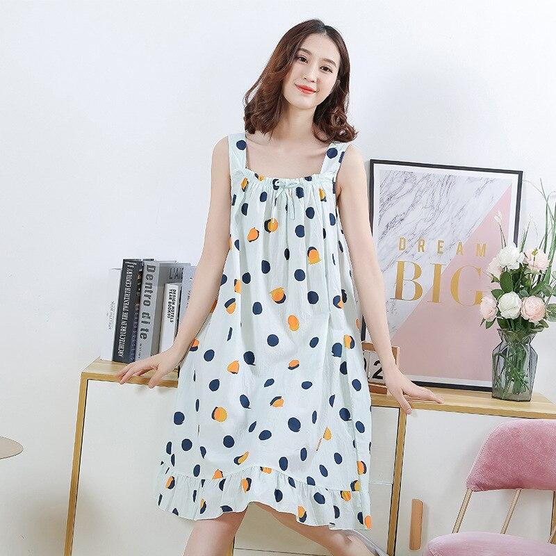 Sanderala mulheres impressão de algodão sexy pijamas plue tamanho lingerie bonito nightdress macio fino feminino roupa interior camisola casa wear