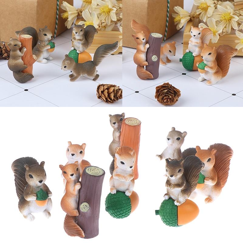 4 Pcs Eichhörnchen Figuren Miniaturen Fee Garten Gnome Moos Geschenk Harz Handwerk