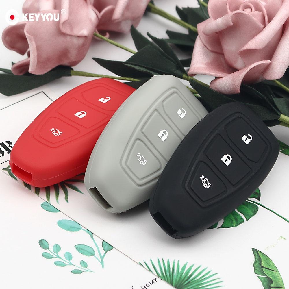 Funda de silicona de repuesto KEYYOU para llave de coche para Ford Fiesta Focus Mondeo Ecosport Kuga Titanium carcasa para mando a distancia Protector