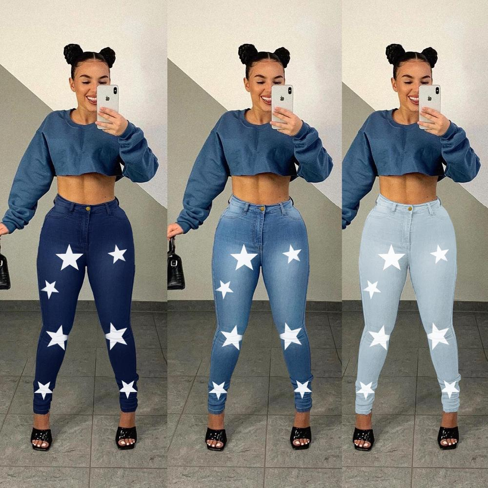 Women's Pencil Pants Printed Jeans Women's High Waist Jeans Ripped Casual Jeans Slim Women's Pants Women's Retro Jeans