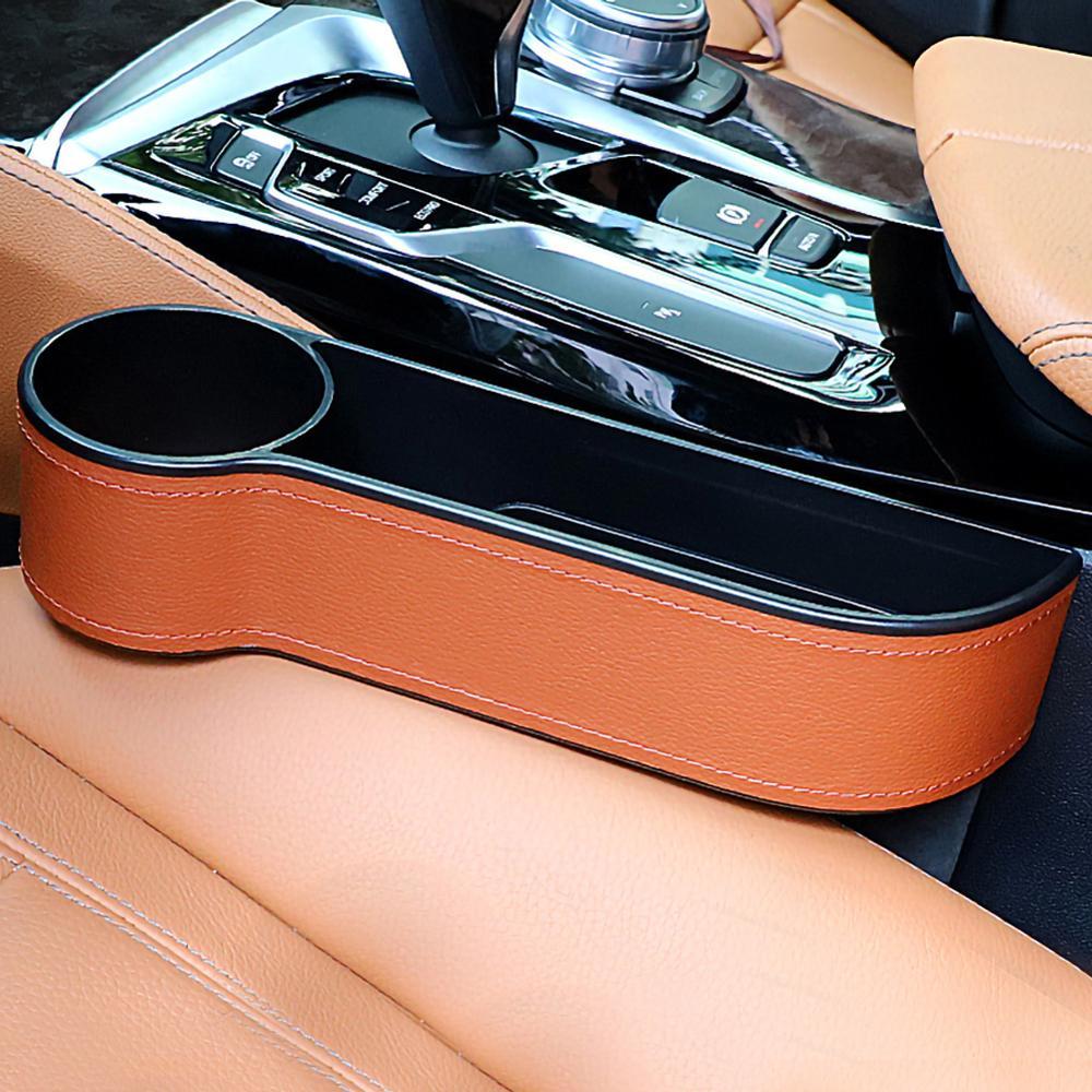 Ящик для хранения, автомобильный Органайзер, чехол из искусственной кожи, карман для автомобильного сиденья, Боковой разрез для бумажника, телефона, монет, ключей от сигарет, карты для универсальных